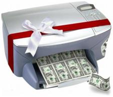a printer printing money