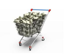 shopping cart with money