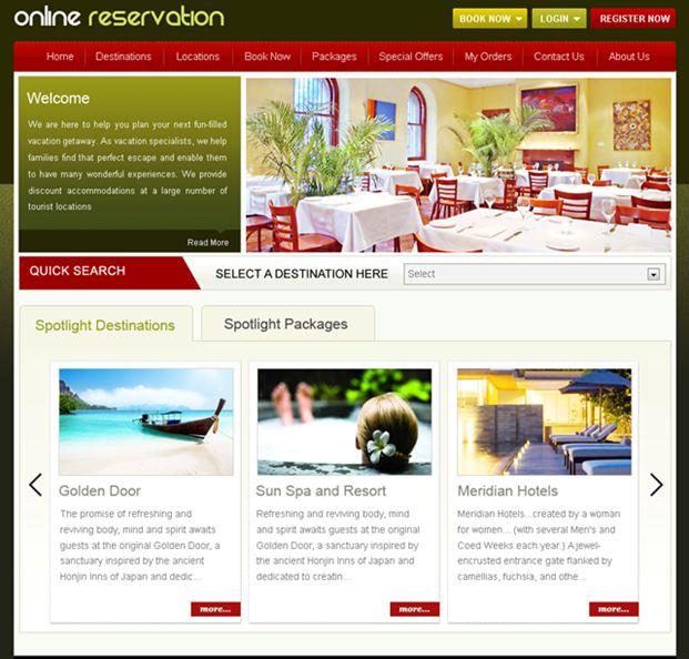 online reservation website screenshot
