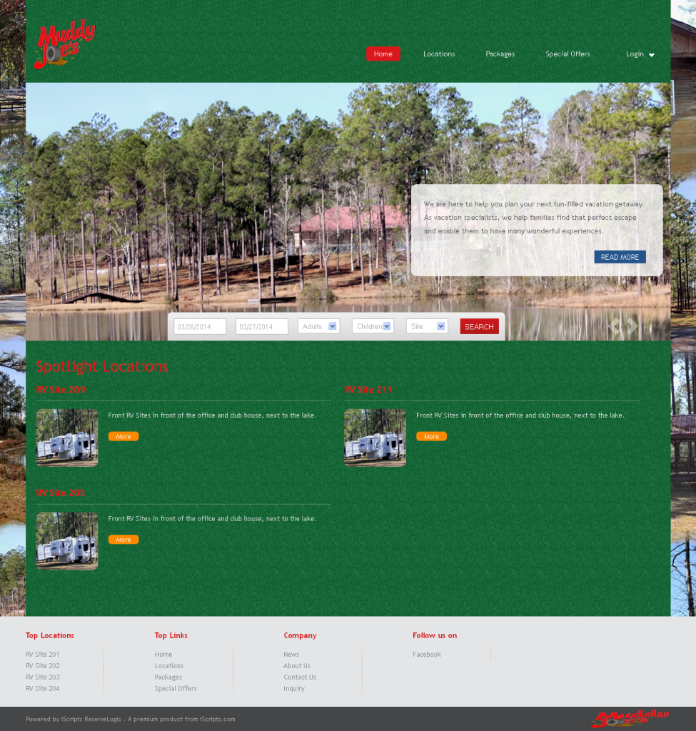 Muddy Joes Offroad RvPark website screenshot