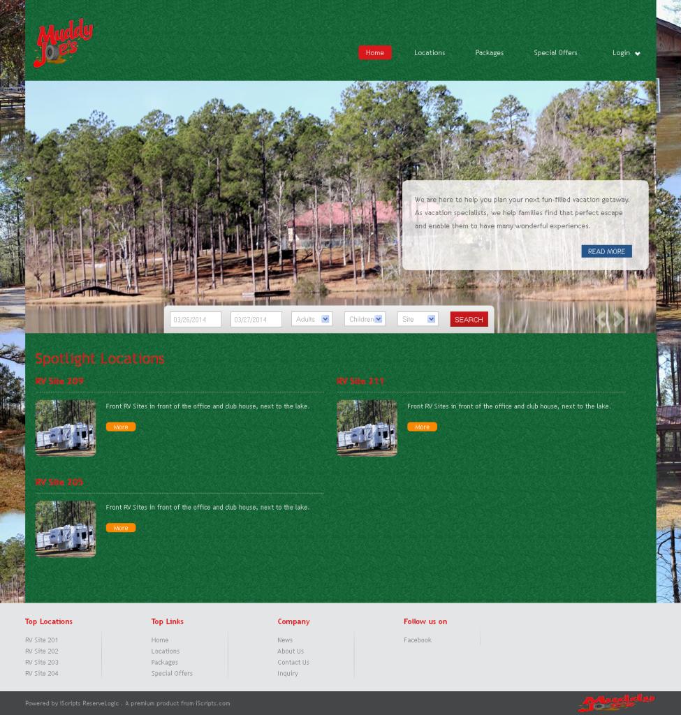 Muddy Joes Offroad RvPark website screenshot