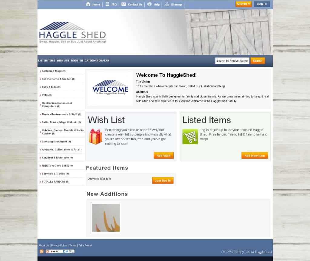 HaggleShed website screenshot