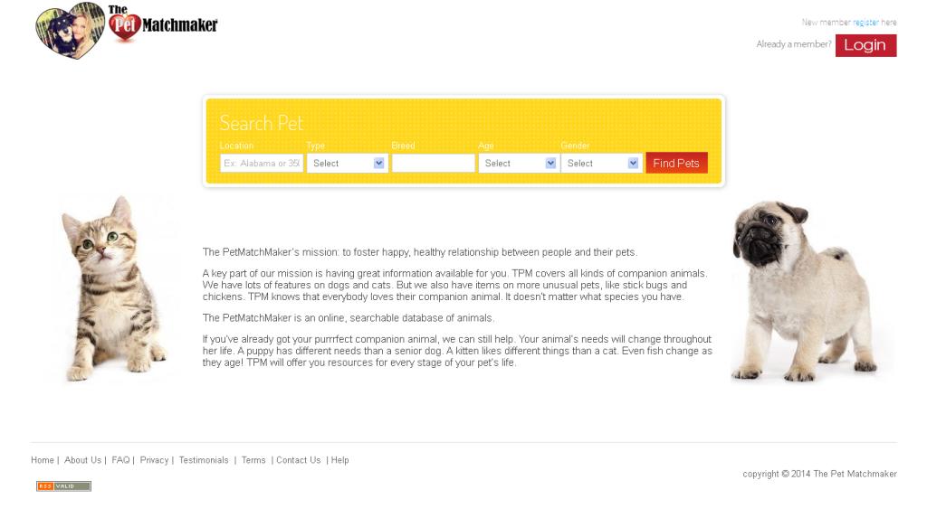 ThePetMatchMaker website screenshot