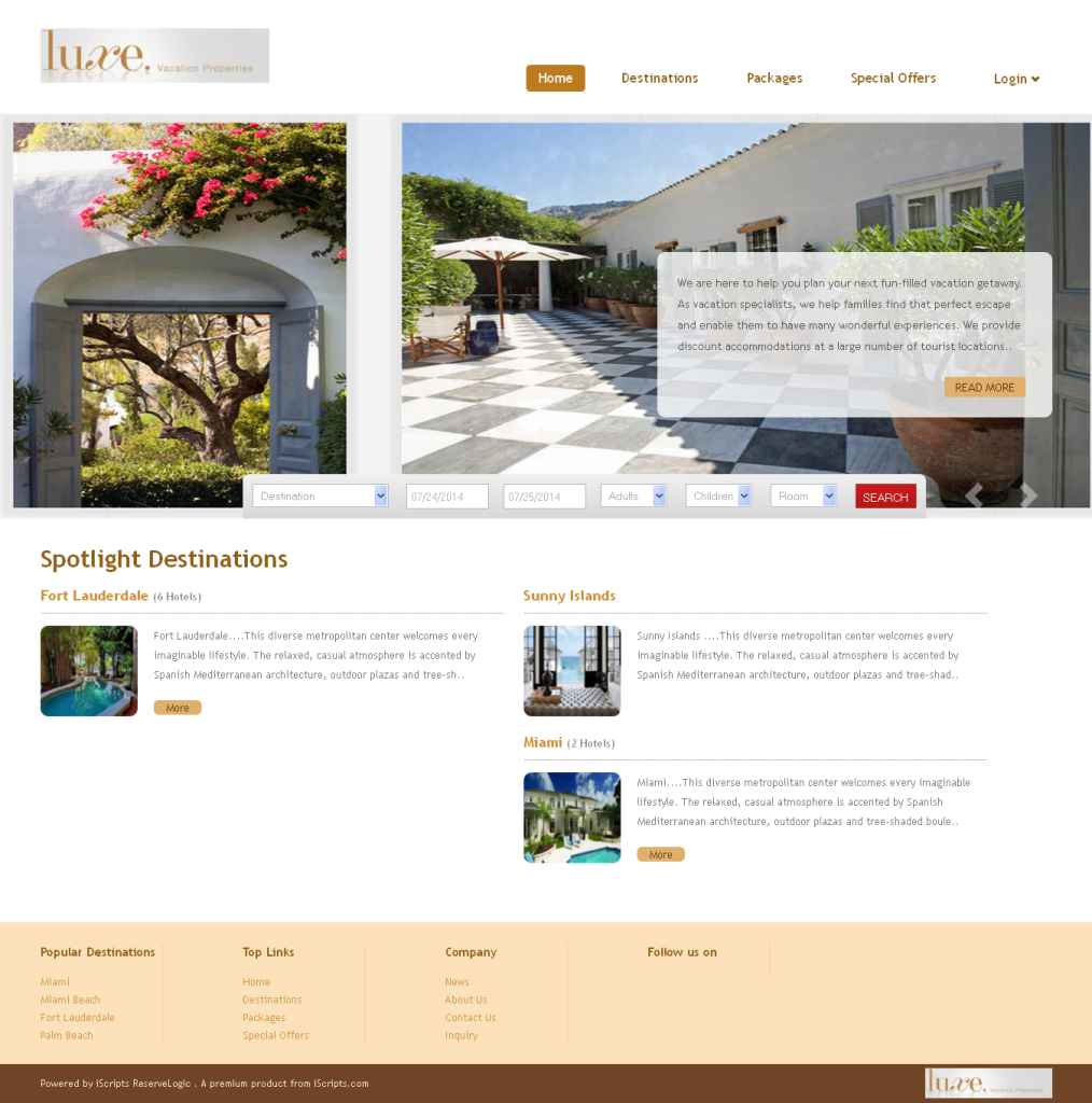 luxevacationproperties website