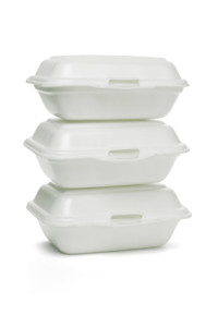 a set of 3 recycling takeout containers