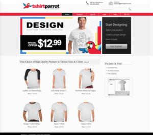 T-shirt Parrot website screenshot