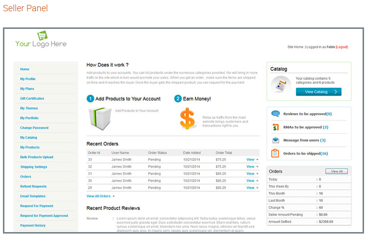 seller panel for marketplace