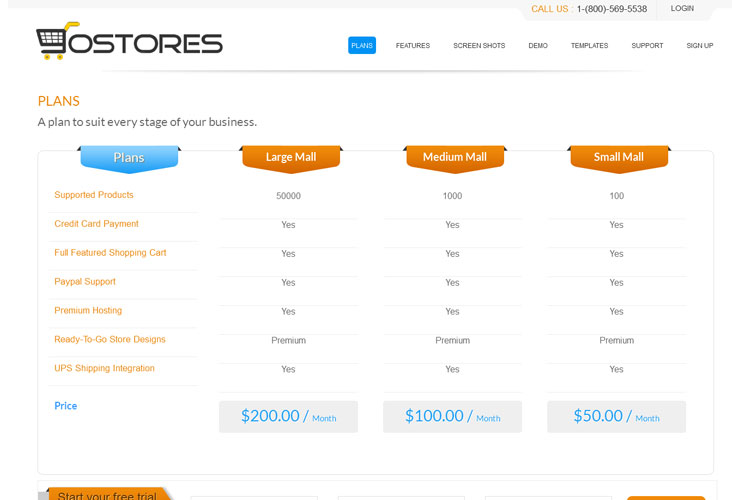 iScripts gostores website plan page