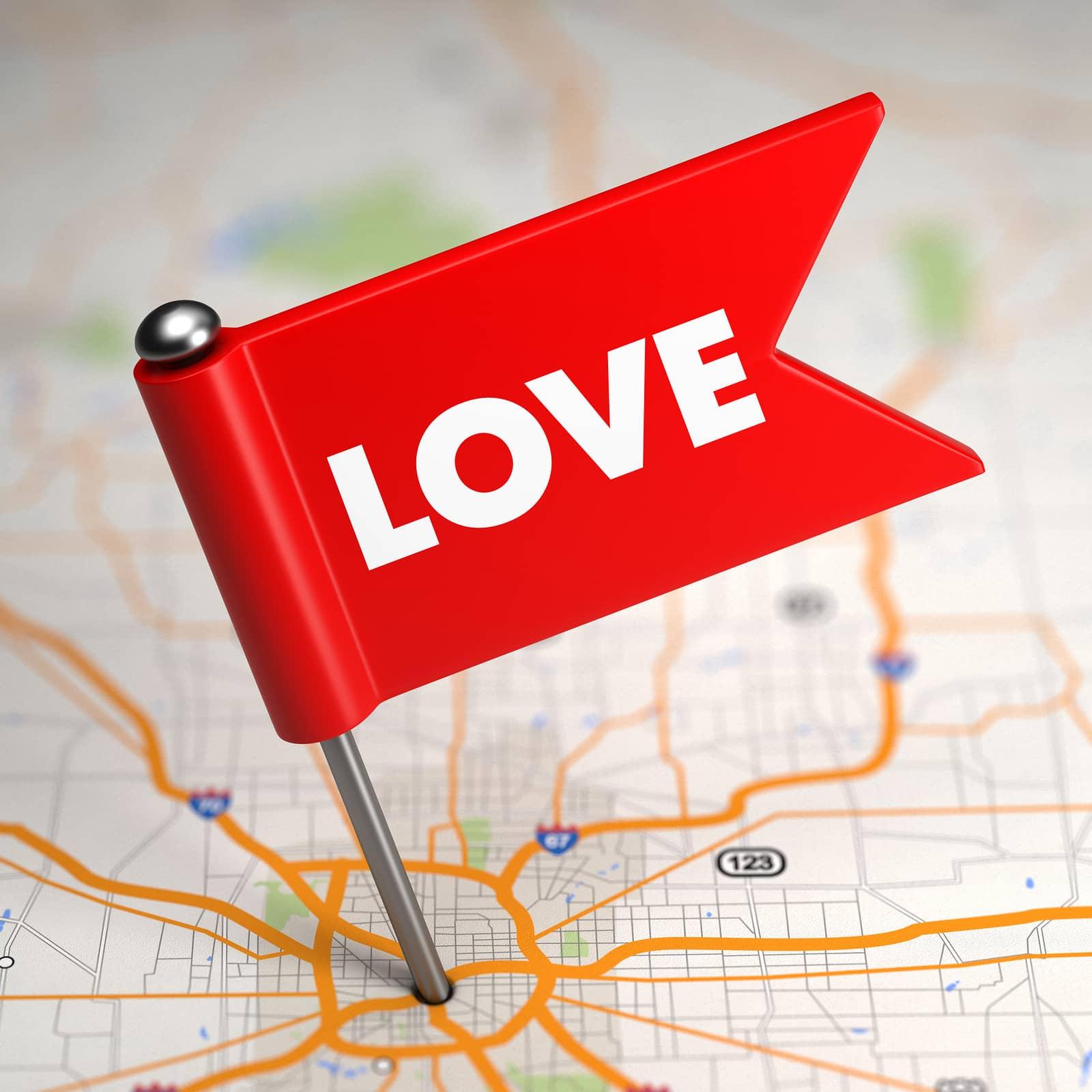 a red love flag