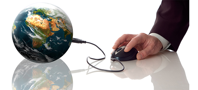 a globe connected to  a mouse