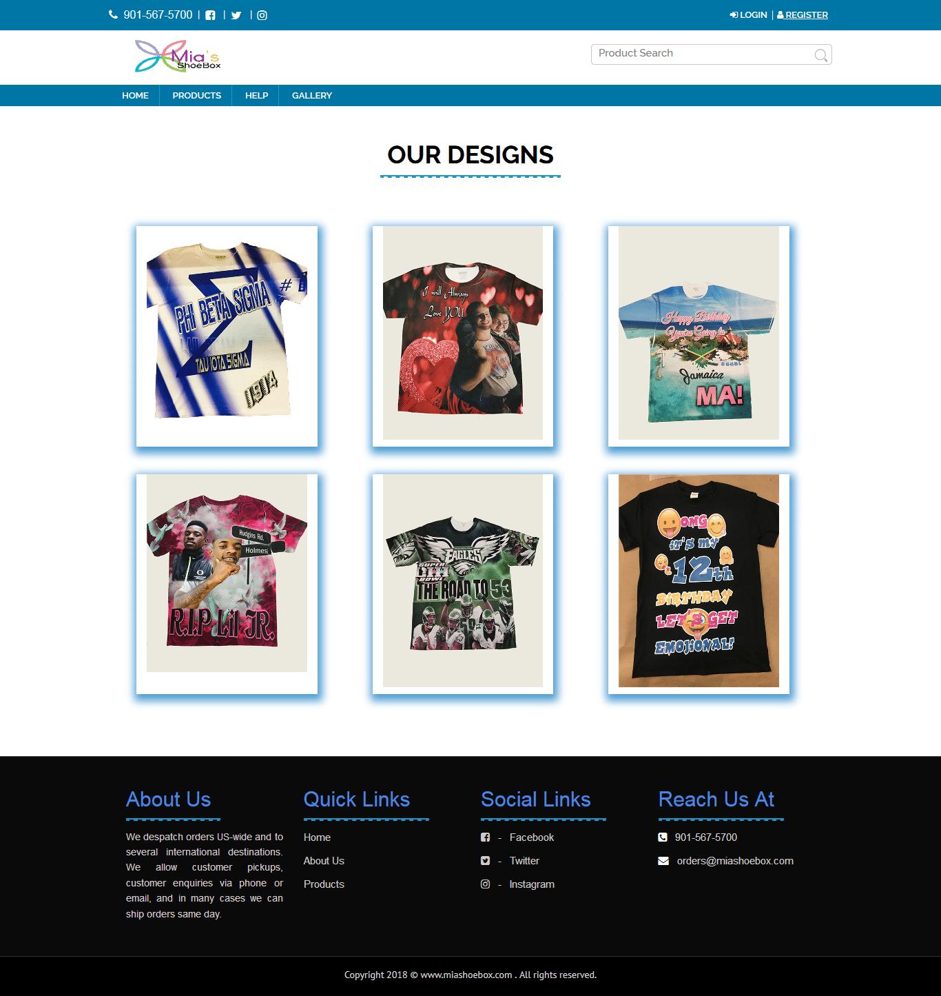 Miashoebox t-shirt designs